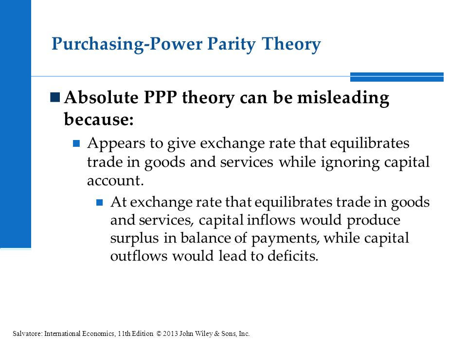 analyse the purchasing power parity theory Purchasing power parity (ppp) is a disarmingly simple theory which holds that the nominal exchange rate between two currencies should be.