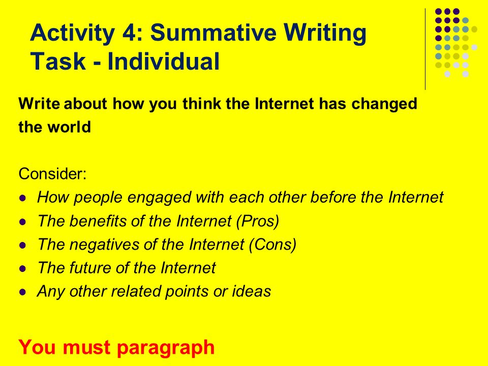 essays formative assessment In this paper we discuss a simple but comprehensive form of feedback to essay  authors, based on a thesaurus and computer graphics, which enables the essay .