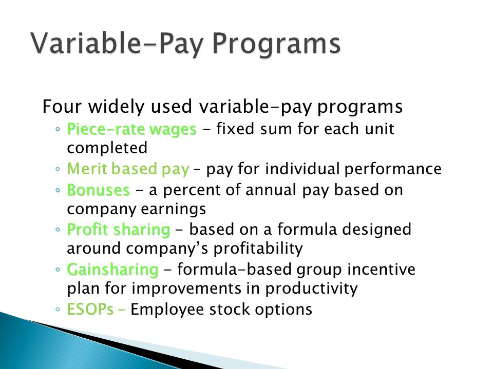 rewarding individual employees through variable pay Variable-pay programs  rewarding individual employees through skill-based pay plans  pay levels based on how many skills employees have or how many jobs.