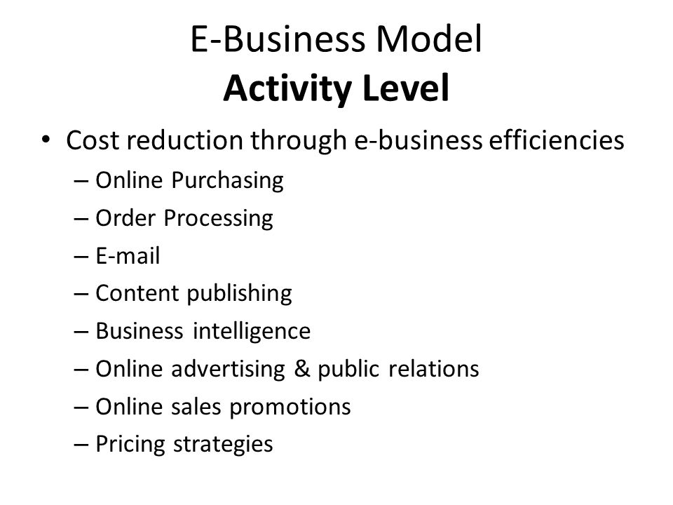 E-Business Model Activity Level