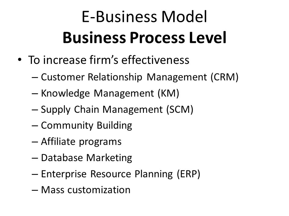 E-Business Model Business Process Level