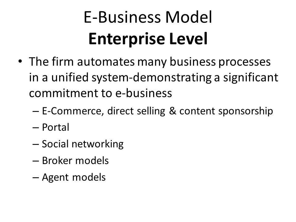 E-Business Model Enterprise Level