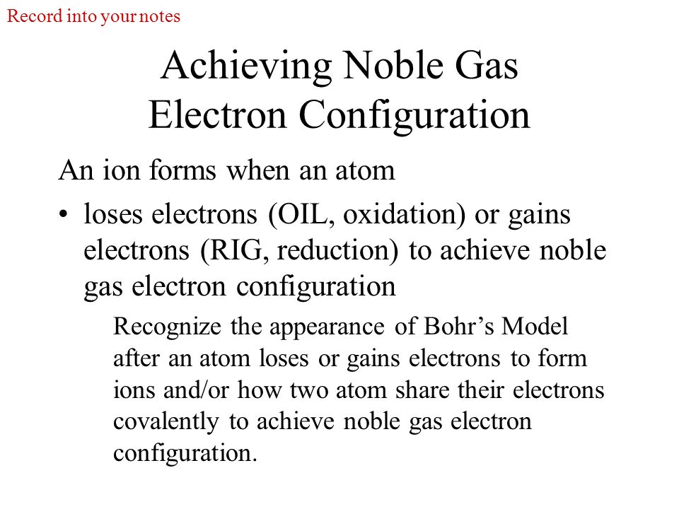 how electron configuration accounts for ion formation Therefore , the electron configuration of the sodium ion is 1s^2 2s^2 2p^6 because sodium gives up the electron from the 3s orbital it now has only 10 electrons but still has 11 protons, giving it a +1 charge and it becomes a na^(+) cation.