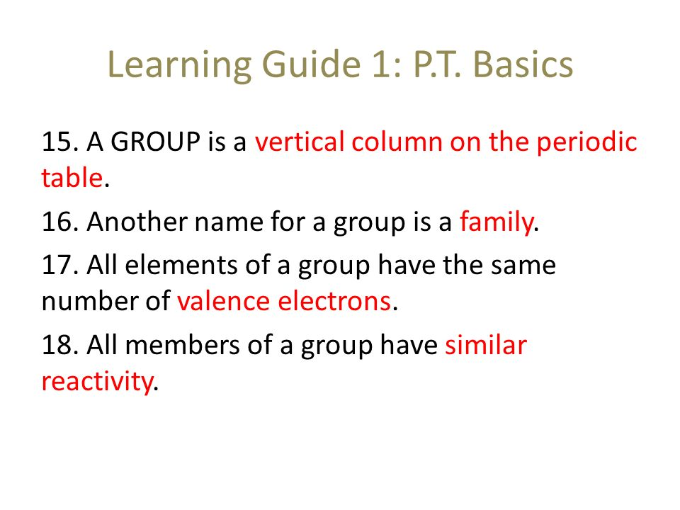 10 learning - Periodic Table Another Name For Group