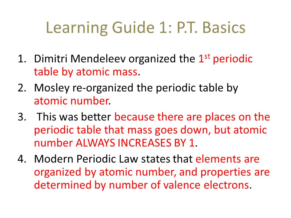 Learning objectives after completing this unit of study you should 3 learning guide 1 pt basics dimitri mendeleev organized the 1st periodic table by atomic mass urtaz Images