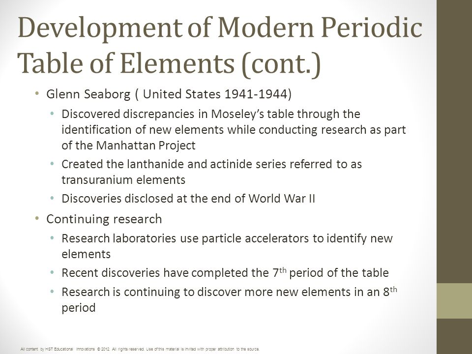 Unit 3 periodic table of elements ppt download development of modern periodic table of elements cont urtaz Images