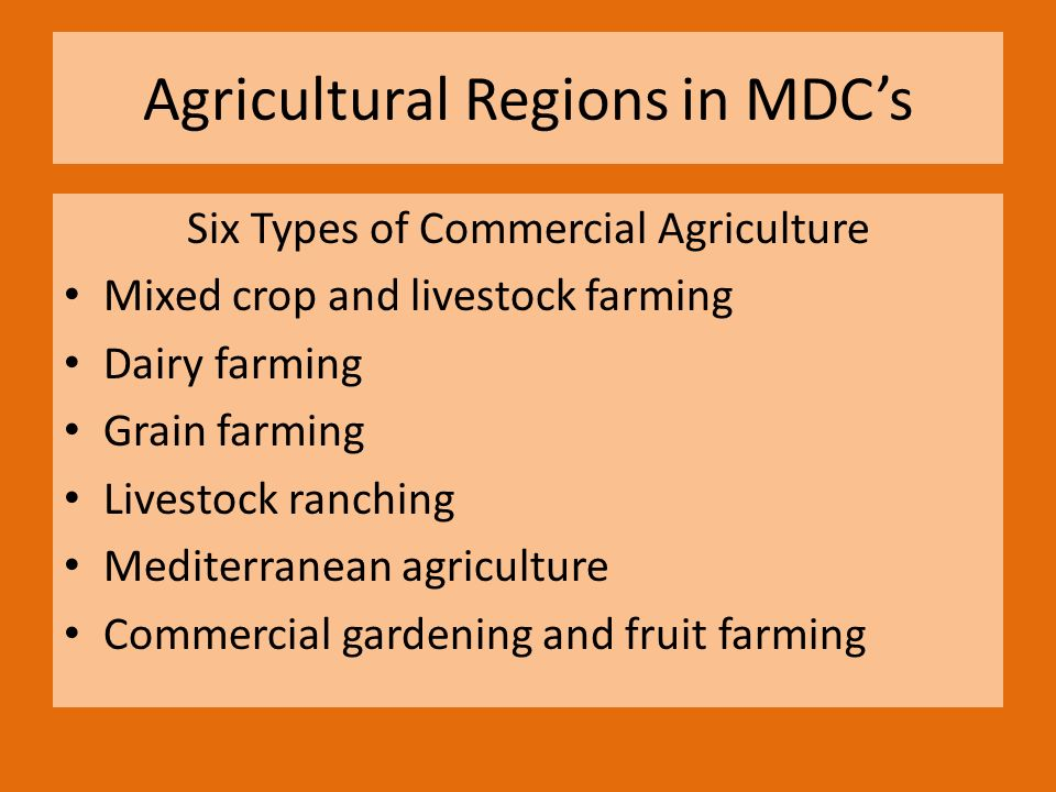 Agricultural Regions In Mdc S