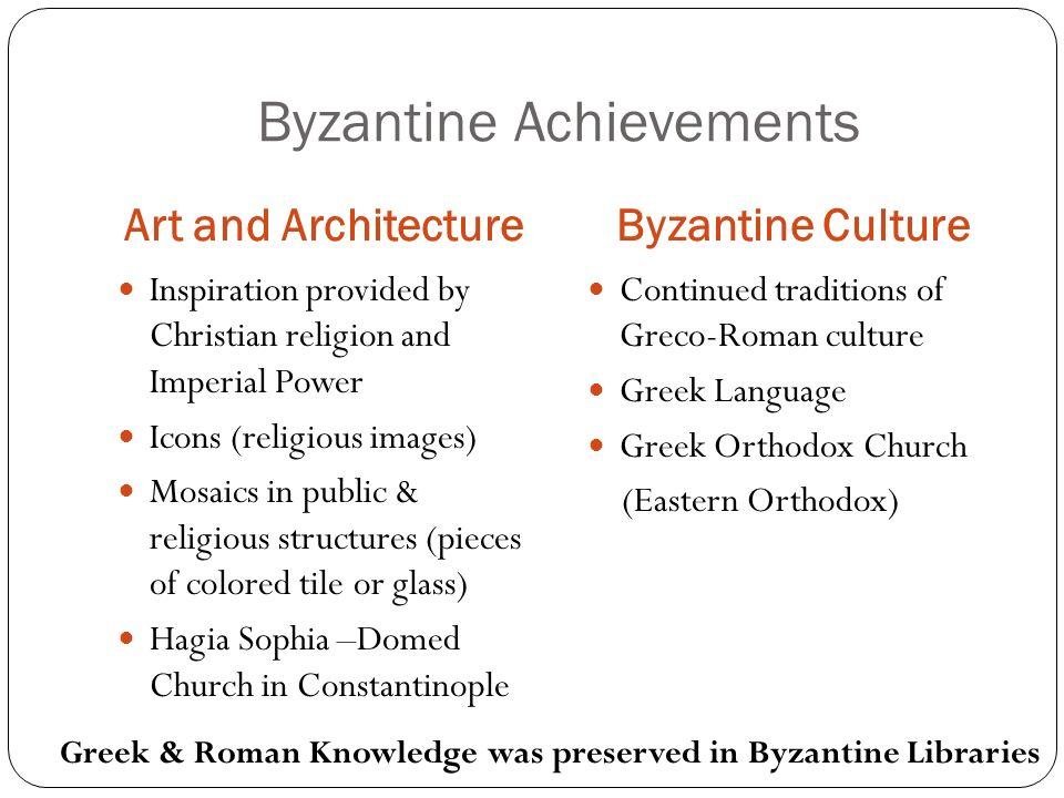 Byzantine Achievements