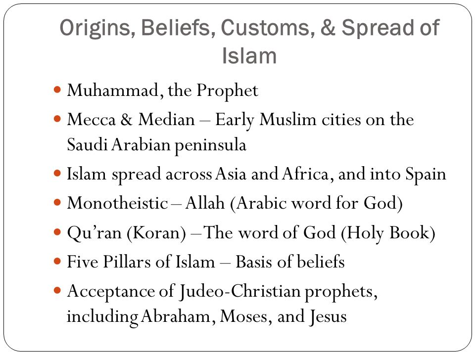 Origins, Beliefs, Customs, & Spread of Islam