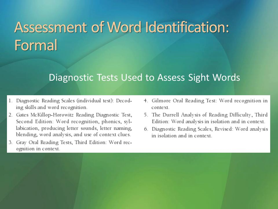Assessment of Word Identification: Formal