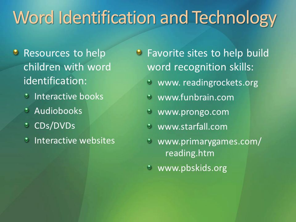 Word Identification and Technology