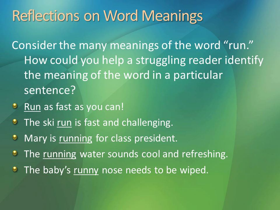 Reflections on Word Meanings