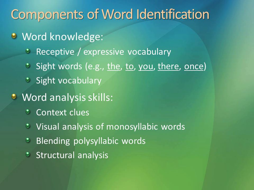 Components of Word Identification