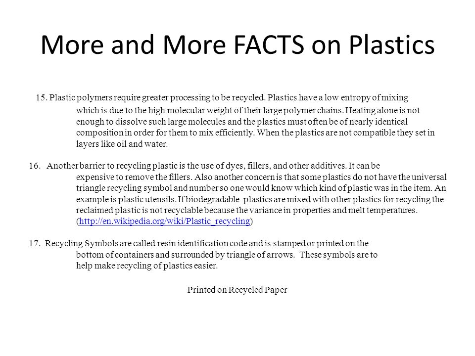 More and More FACTS on Plastics