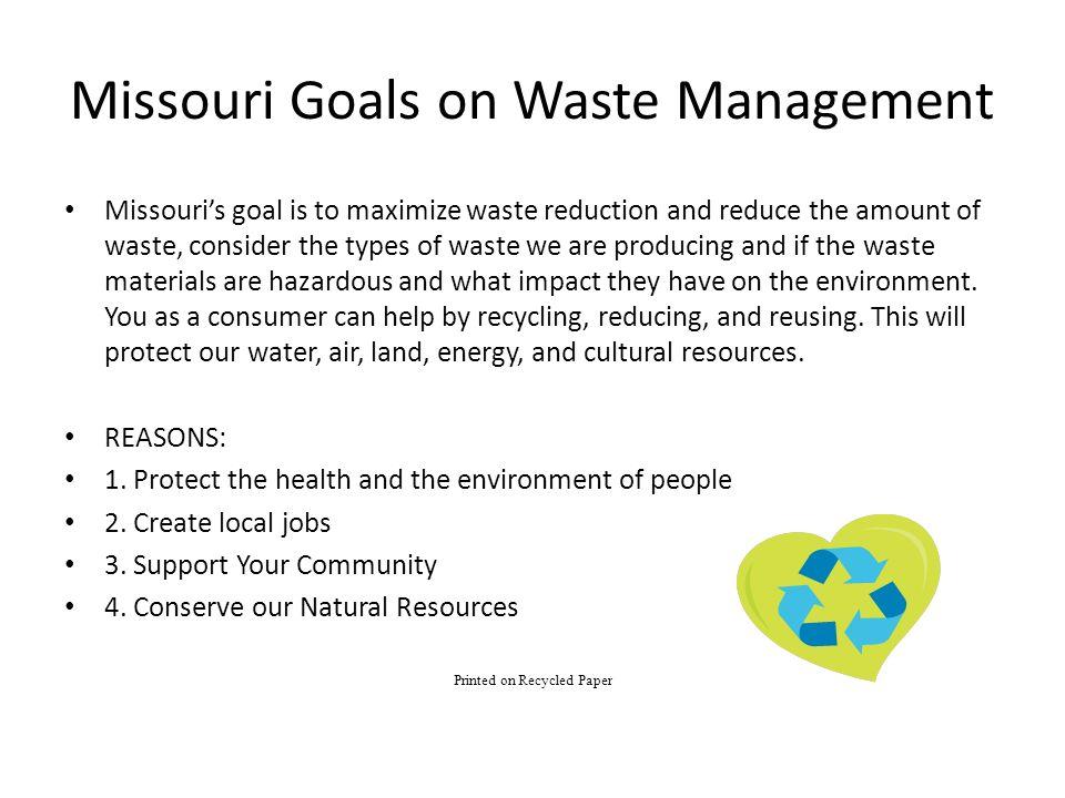 Missouri Goals on Waste Management