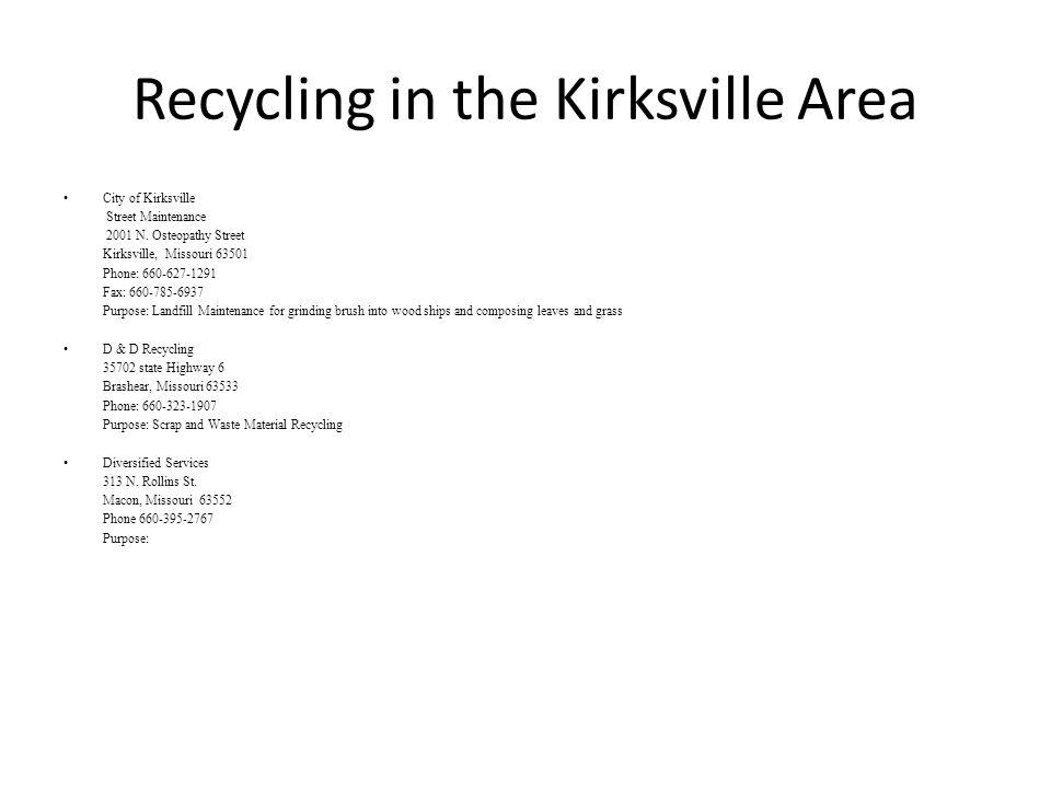 Recycling in the Kirksville Area