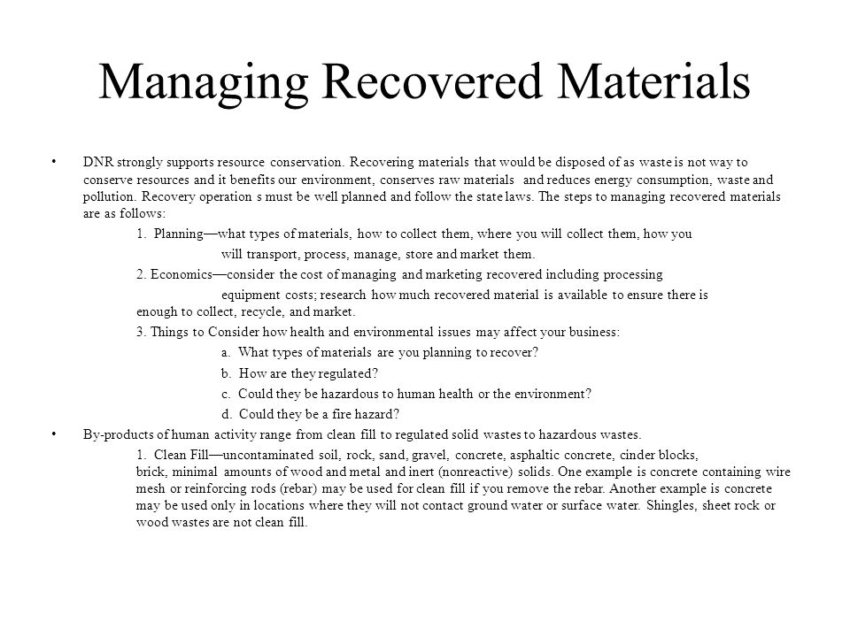 Managing Recovered Materials