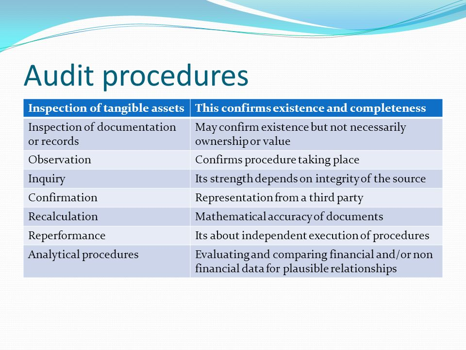 audit procedure Audit procedure normally design by auditors based on the characteristic of target transactions or event, risks that associate, and the approach that auditor respond to those risks risk.