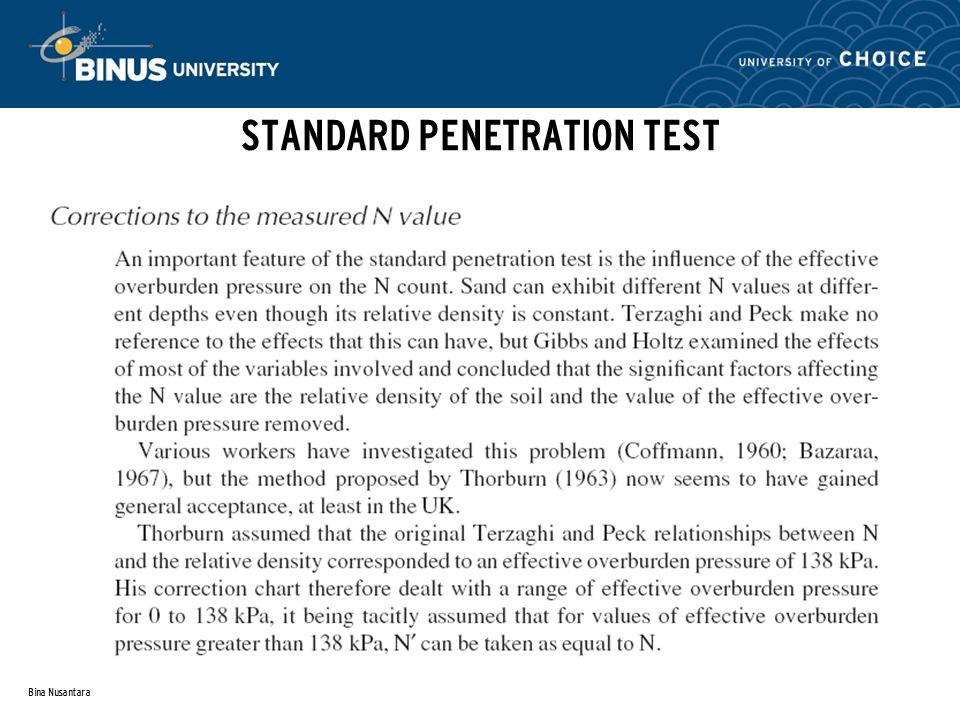 Something Standard penetration test corrected confirm. happens