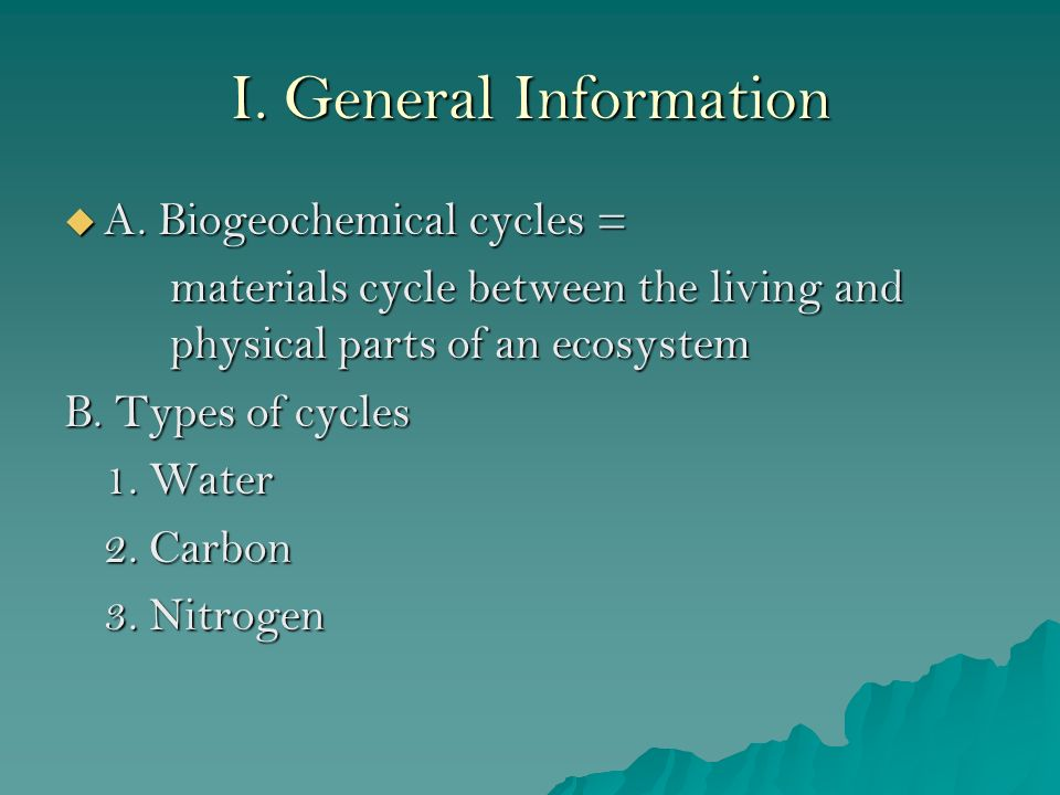 What are some examples of biogeochemical cycles?