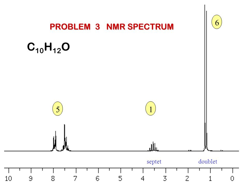 6 PROBLEM 3 NMR SPECTRUM C10H12O 5 1 septet doublet