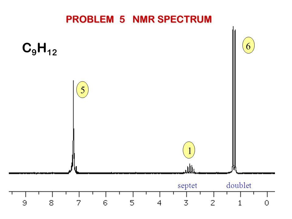 PROBLEM 5 NMR SPECTRUM C9H12 6 5 1 septet doublet
