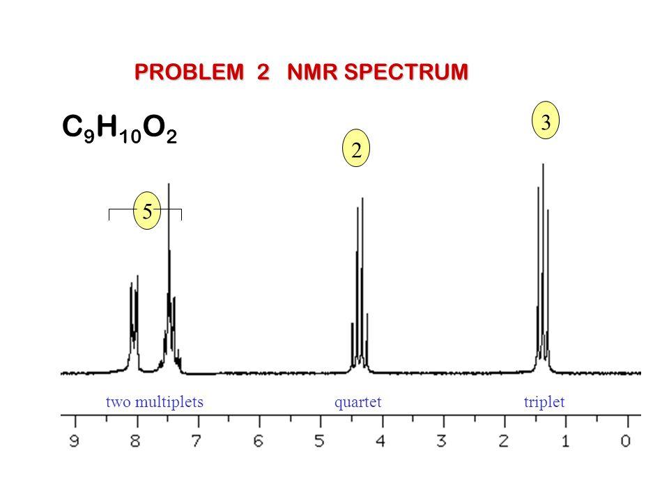 PROBLEM 2 NMR SPECTRUM C9H10O2 3 2 5 two multiplets quartet triplet