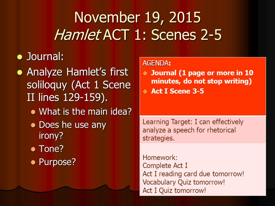 hamlet analysis soliloquy act scene ii 129 159 A soliloquy hamlet prince of denmark hamlet@govdk  hamlet act 1, scene 2, lines 129 – 159 soliloquy - by:  romeo's final soliloquy analysis due.