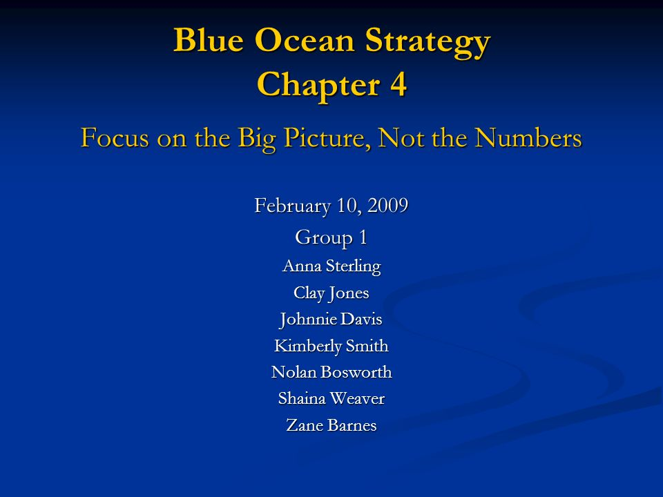 blue ocean strategy chapter summary Summary chapter 1 creating blue ocean mirza m abdullah 2655 sm  blue  ocean we must discuss the strategic moves of the companies these strategic  moves.