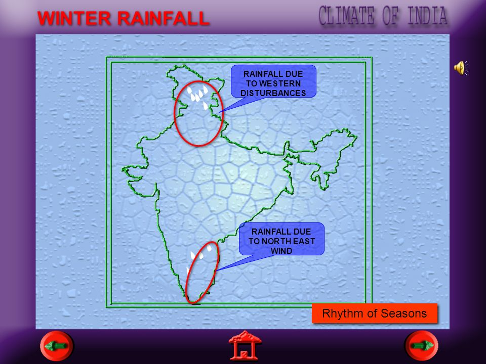 RAINFALL DUE TO WESTERN DISTURBANCES RAINFALL DUE TO NORTH EAST WIND