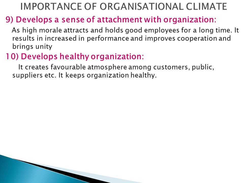 IMPORTANCE OF ORGANISATIONAL CLIMATE
