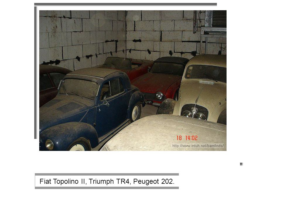 Fiat Topolino II, Triumph TR4, Peugeot 202.