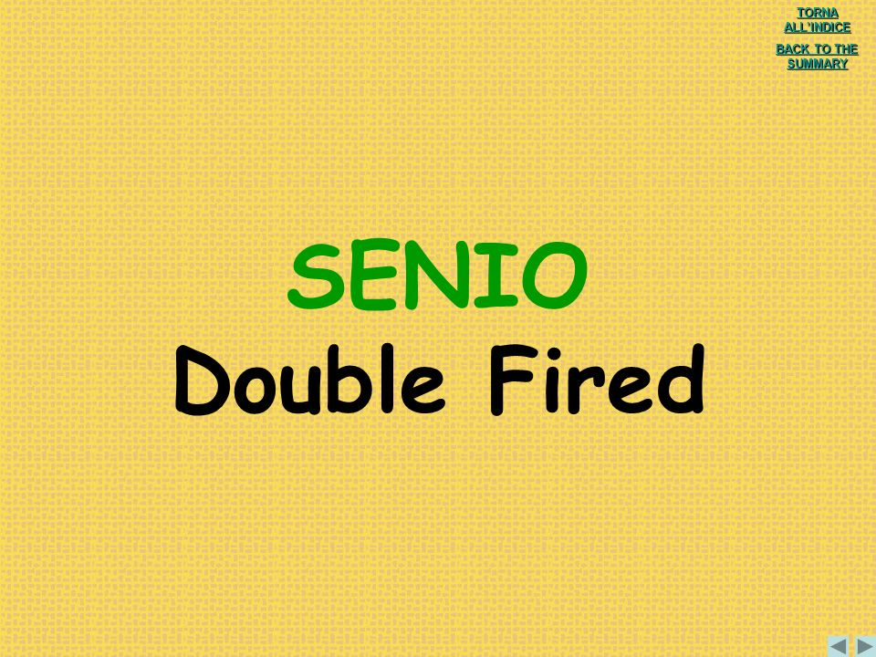 SENIO Double Fired TORNA ALL'INDICE BACK TO THE SUMMARY