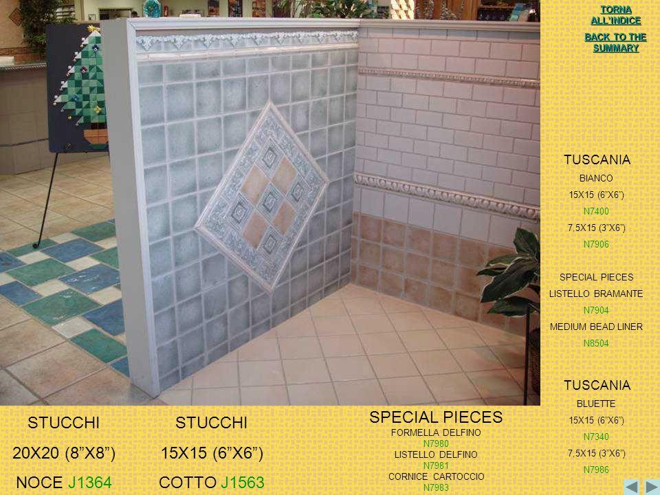 SPECIAL PIECES STUCCHI 20X20 (8 X8 ) NOCE J1364 STUCCHI 15X15 (6 X6 )
