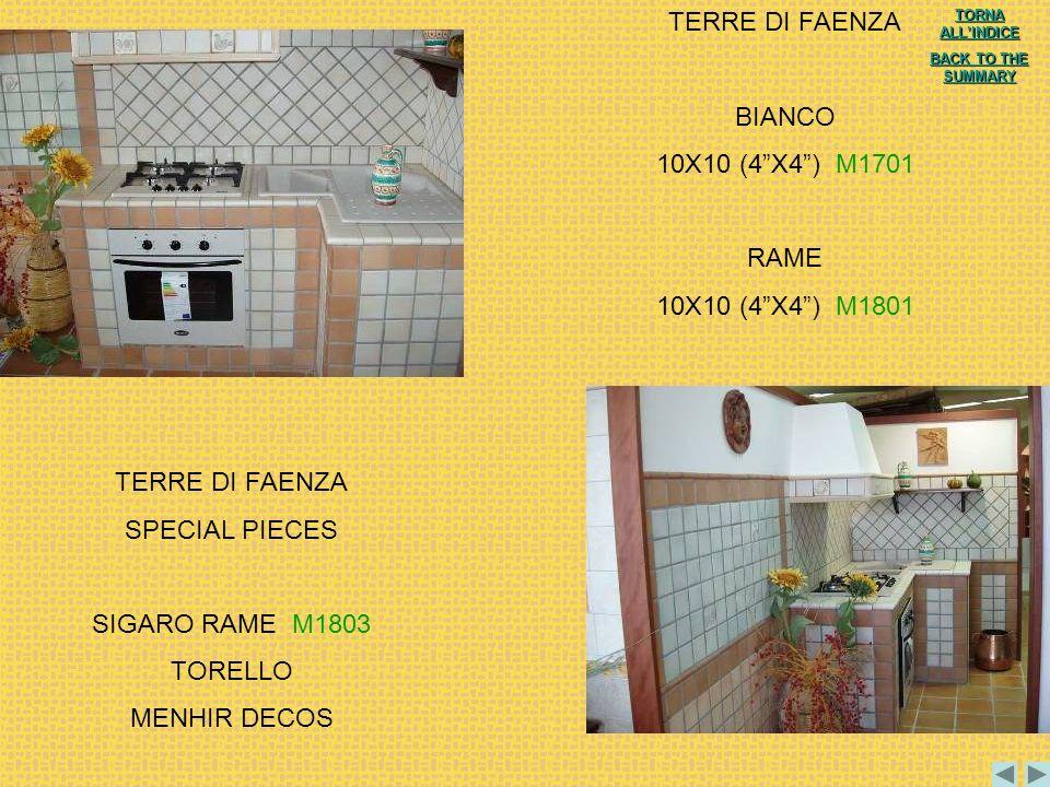 TERRE DI FAENZA BIANCO 10X10 (4 X4 ) M1701 RAME 10X10 (4 X4 ) M1801