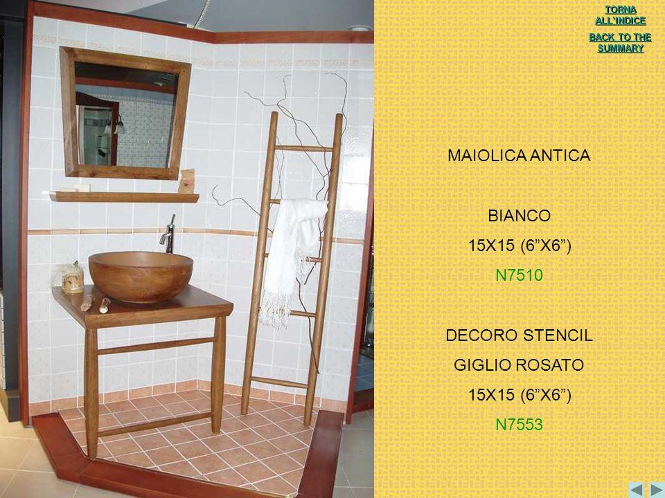 MAIOLICA ANTICA BIANCO 15X15 (6 X6 ) N7510 DECORO STENCIL