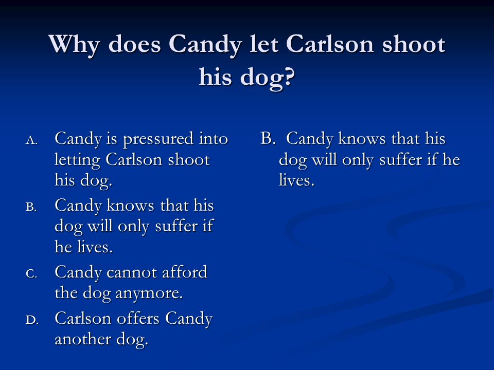 carlson shoots candy dog essay 17062018 why should you care about what candy says in john steinbeck's of mice and men don't worry, we're here to tell you.