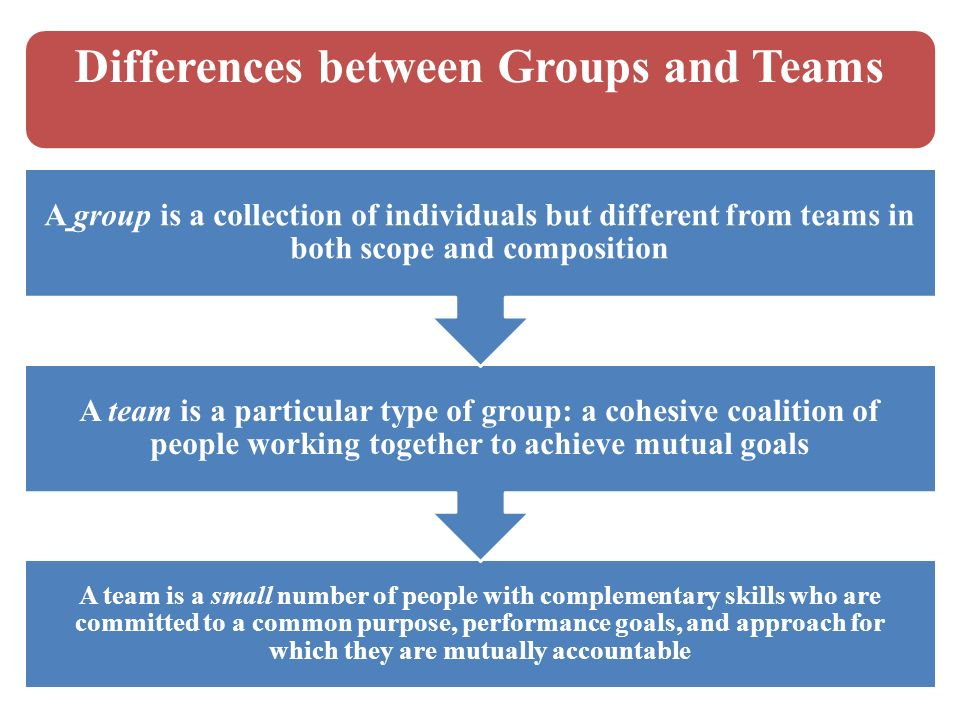 """difference between groups and teams essay Size matters: the difference between big and  """"recent studies have shown that students of all racial or ethnic groups who attend more diverse schools have a ."""