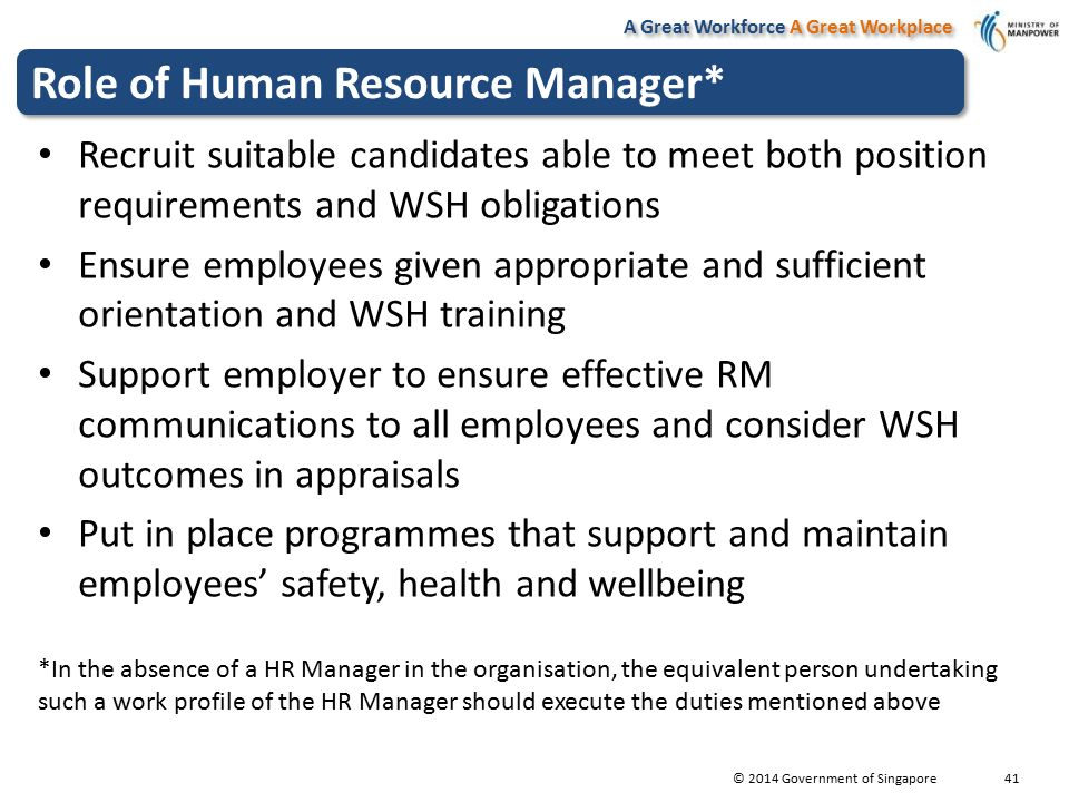 outline the main health and safety responsibilities of the employer or manager Health and safety management responsibilities 1 introduction on the recommendation of the health and safety management sub-committee, and prompted by the recent publication of the university and college employers' association (ucea) document 'leading health and safety at work', council instigated a review of health and safety leadership in the university.