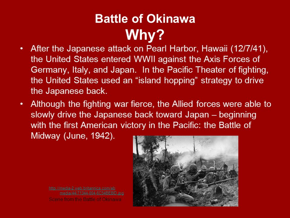 the strategy used by the americans in the battle of okinawa The battle of okinawa was the largest and deadliest campaign in the pacific  this island was crucial to the american war strategy  the battle of okinawa:.