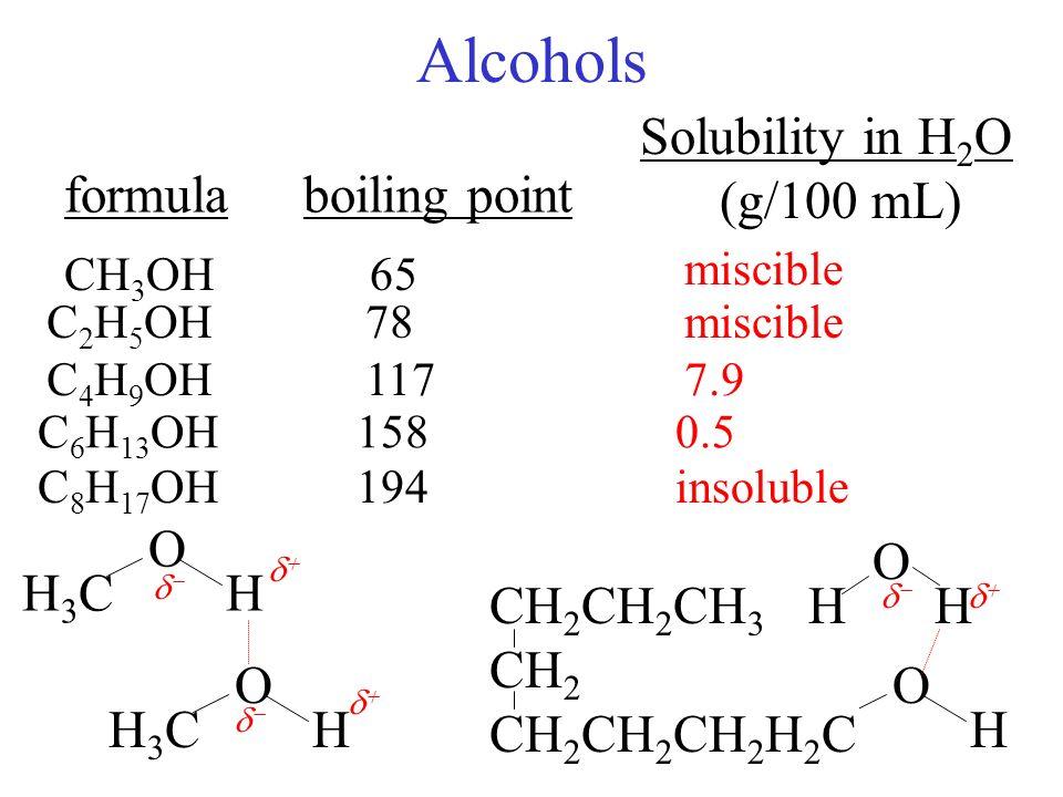Alcohols .. organic analog of water Hydrogen bond donor O-Hd+ Od ...