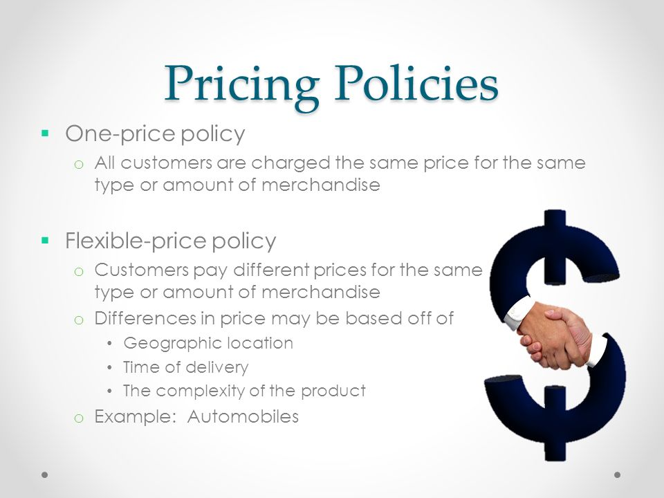 pricing policy How to price a new product is a top management puzzle that is too often solved by cost theology and hunch this article suggests a pricing policy geared to the dynamic nature of a new product's.