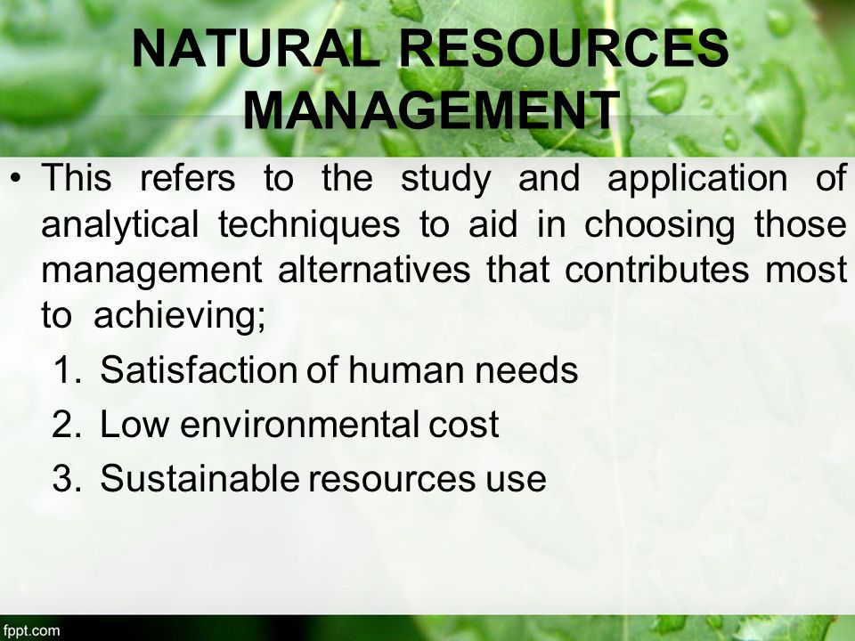 Env 233 Introduction To Natural Resources Management
