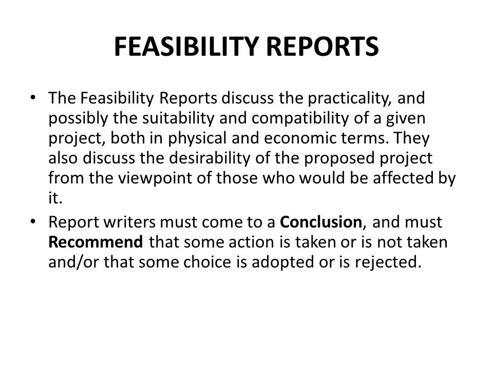 Sample Feasibility Report Informal Reports Ppt Video Online
