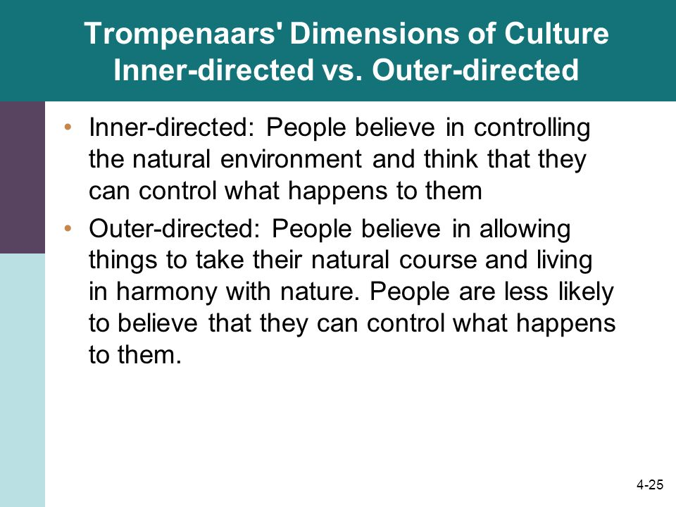 Trompenaars Dimensions of Culture Inner-directed vs. Outer-directed