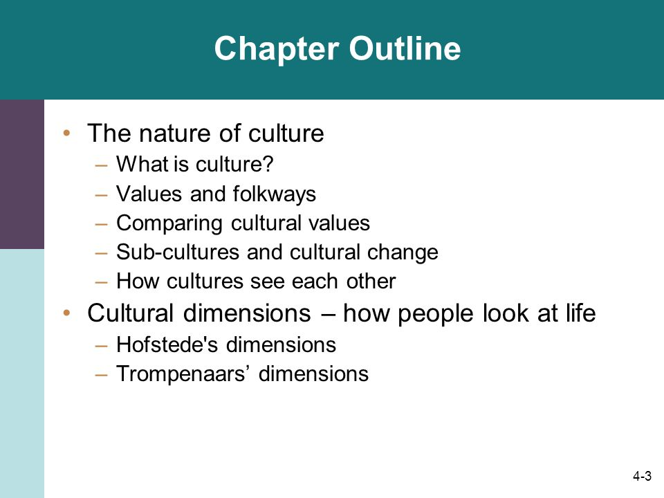 Chapter Outline The nature of culture