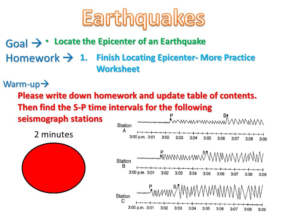 Earthquakes Goal  Homework  Locate the Epicenter of an ...