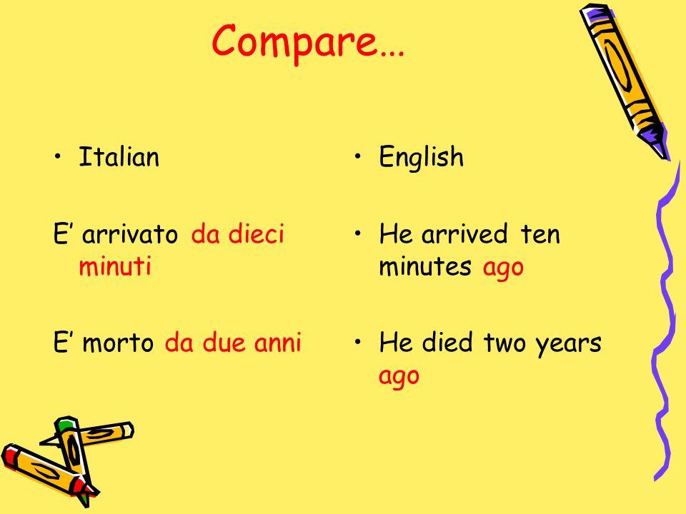 Compare… Italian E' arrivato da dieci minuti E' morto da due anni