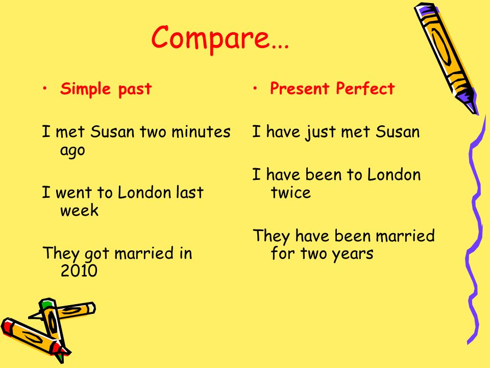 Compare… Simple past I met Susan two minutes ago