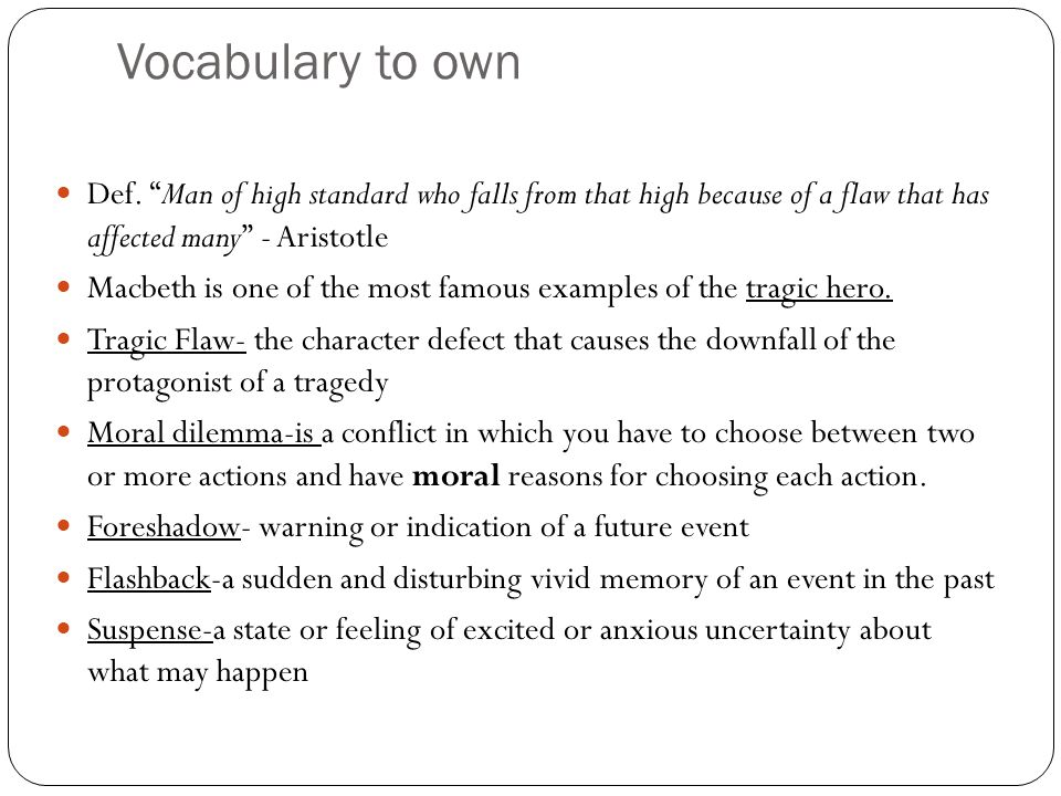 the tragedy of macbeth by william shakespeare ppt  9 vocabulary